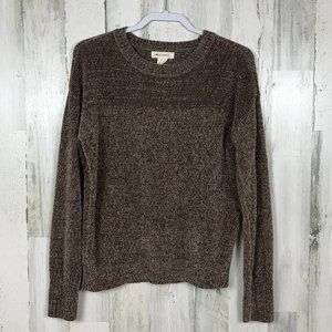 Love Crazy chenille sweater soft cozy marled brown